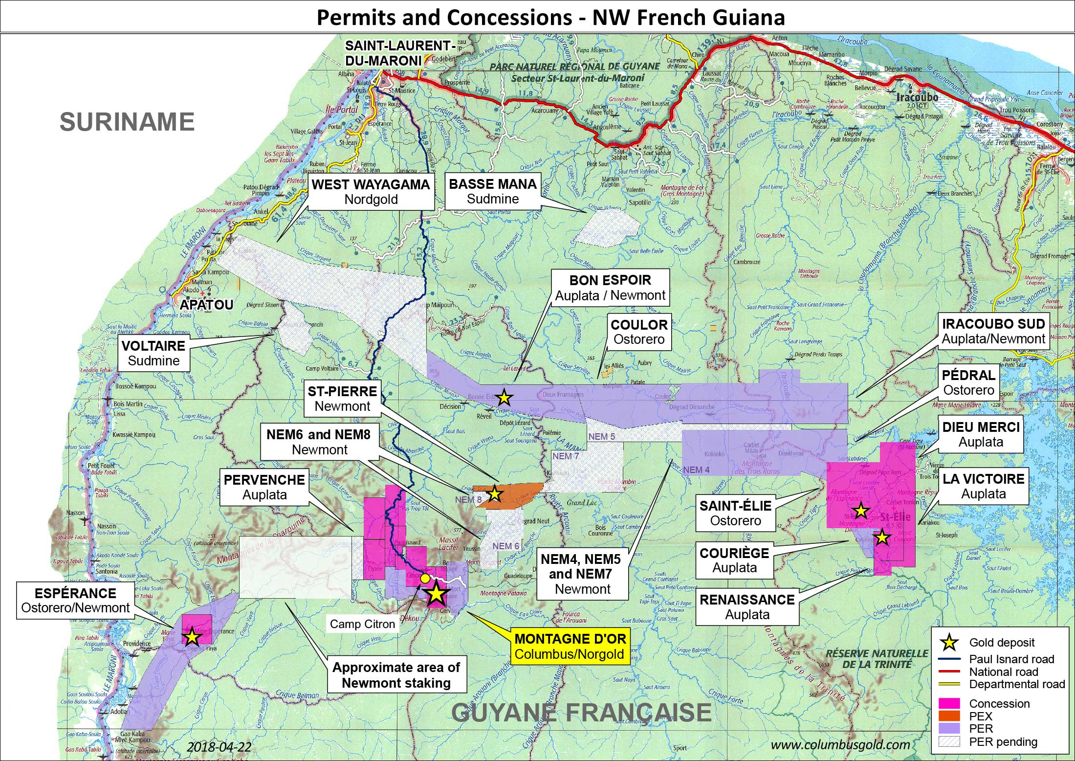 Permits and Concessions NW French Guiana